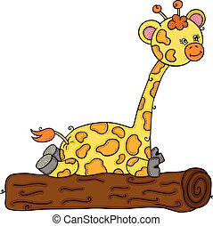 Cute giraffe sitting on tree stump trunk