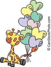 Cute giraffe sitting with heart shaped balloons