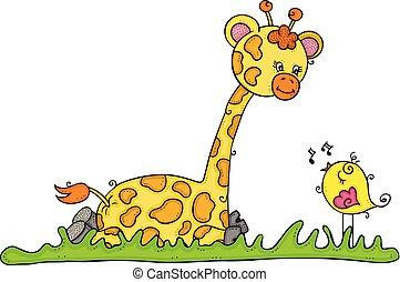 Cute giraffe sitting with little bird singing