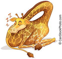 Cute giraffe sleeping alone illustration