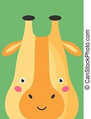 Cute giraffe snout flat vector illustration. Adorable wildlife african animal muzzle cartoon colorful background. Close up giraffe orange head, face decorative backdrop. Childish card design idea.