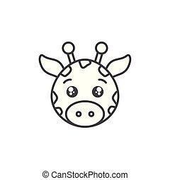 cute giraffe wild animal line style icon