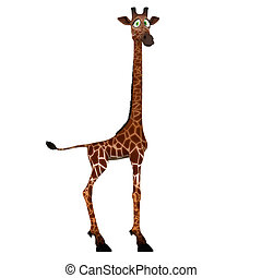 Cute giraffe with a funny face - lovely - Rendered Image of...