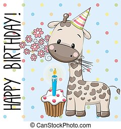 Cute Giraffe with cake