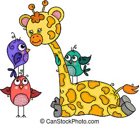Cute giraffe with three birds