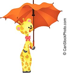 Cute giraffe with umbrella