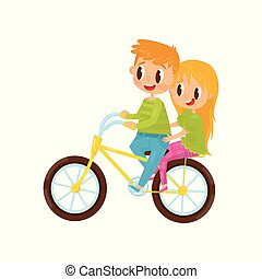 Cute girl and boy riding on bicycle. Brother and sister having fun  together. Cheerful 952f20bdb3fd