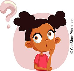 Cute Girl Asking Questions Vector Character - Funny child ...