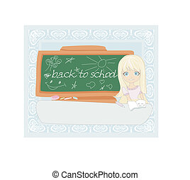 Cute girl at the table - Back to school