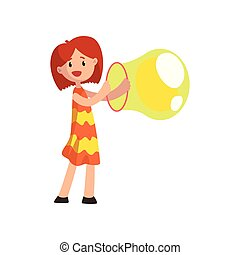 Cute girl blowing big soap bubble with ring cartoon vector Illustration on a white background