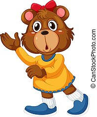 Cute girl brown bear