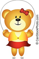 Cute Girl Cartoon Bear Playing Skip