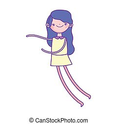 cute girl cartoon character icon