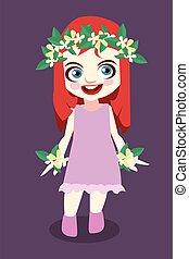 Cute girl cartoon illustration