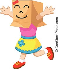 cute girl cartoon playing cardboard