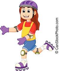cute girl cartoon playing roller skates