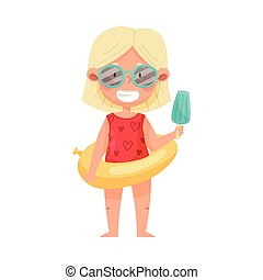 Cute Girl Character in Sunglasses with Rubber Swimming Ring Holding Ice Cream Vector Illustration