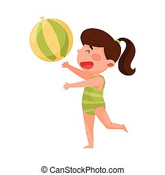 Cute Girl Character in Swimsuit Playing with Ball at Sea Shore Vector Illustration