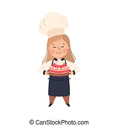 Cute Girl Chef Cook Holding Tray with Cake, Kid in Chef Uniform Cooking in Kitchen Cartoon Style Vector Illustration