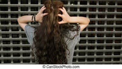 Cute Girl Comb Her Long Hair By Hands Back View - Cute Girl...