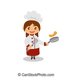 Cute girl cooking pancakes. Happy little cook with pan and spatula in hands. Kid in chef uniform and hat. Flat vector design