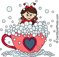 Cute girl dressed of ladybug on tea cup with soap bubbles