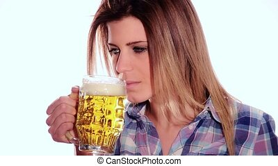 cute girl drinking a beer - Modern beautiful girl is...