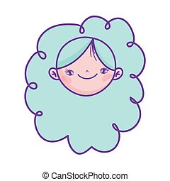 cute girl face cartoon character icon