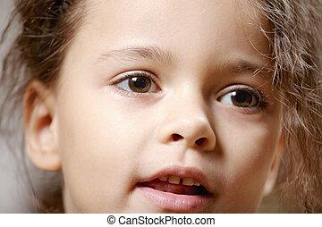 Cute girl face closeup