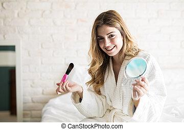 Cute girl getting ready