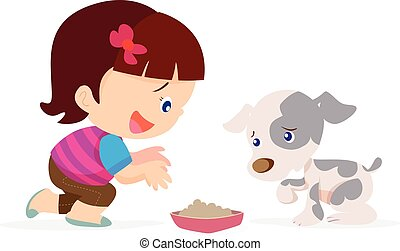 cute girl give food dog