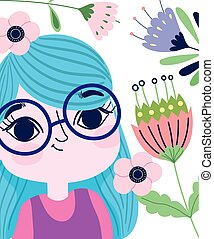 cute girl glasses cartoon with flowers botany