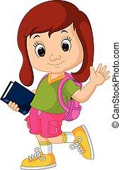 Cute girl go to school