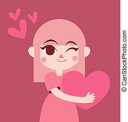 Cute Girl Holding a Big Heart