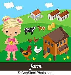 Cute girl holding a chicken