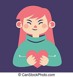Cute Girl Holding a Heart