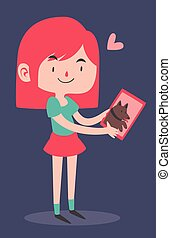 Cute Girl Holding a Portrait of her Dog
