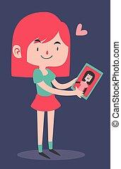 Cute Girl Holding her Girlfriend's Portrait