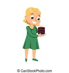 Cute Girl Holding Plate with Chocolate Cake, Kid Enjoying of Eating Yummy Dessert Cartoon Style Vector Illustration