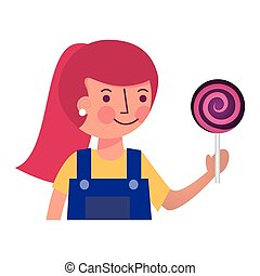cute girl holding sweet lollipop snack