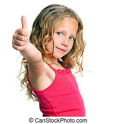 Cute girl holding thumbs up - Close up portrait of cute girl...