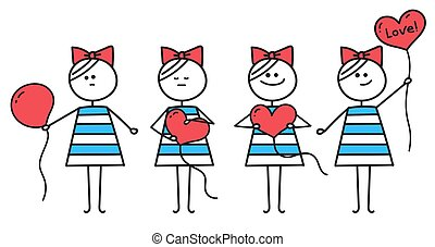 Cute girl holds red heart shaped balloon . Girl makes heart from round balloon. Funny character girl