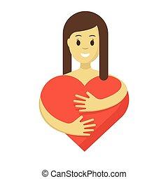 Cute girl hugging red heart, flat vector illustration
