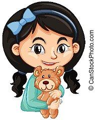 Cute girl hugging teddy bear on white background