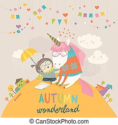 Cute girl hugging unicorn. Autumn wonderland