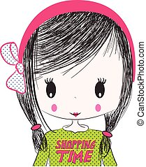 Cute Girl illustration. For apparel or other uses, in vector...
