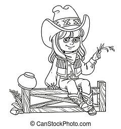 Cute girl in a cowboy costume sits on a fence outlined isolated on a white background