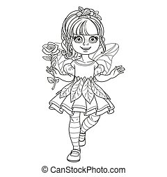 Cute girl in a fairy costume holding a large rose on the handle long outlined isolated on a white background