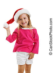 Cute girl in a santa claus hat