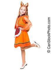Cute girl in a squirrel dress